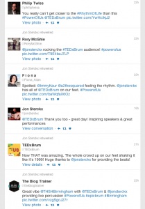 Comments from TEDxBrum 2016 performance - Twitter