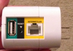 D-Link DIR-505L, Bottom view. From left to right: USB port, Reset button, and Internet/LAN CAT5 connector