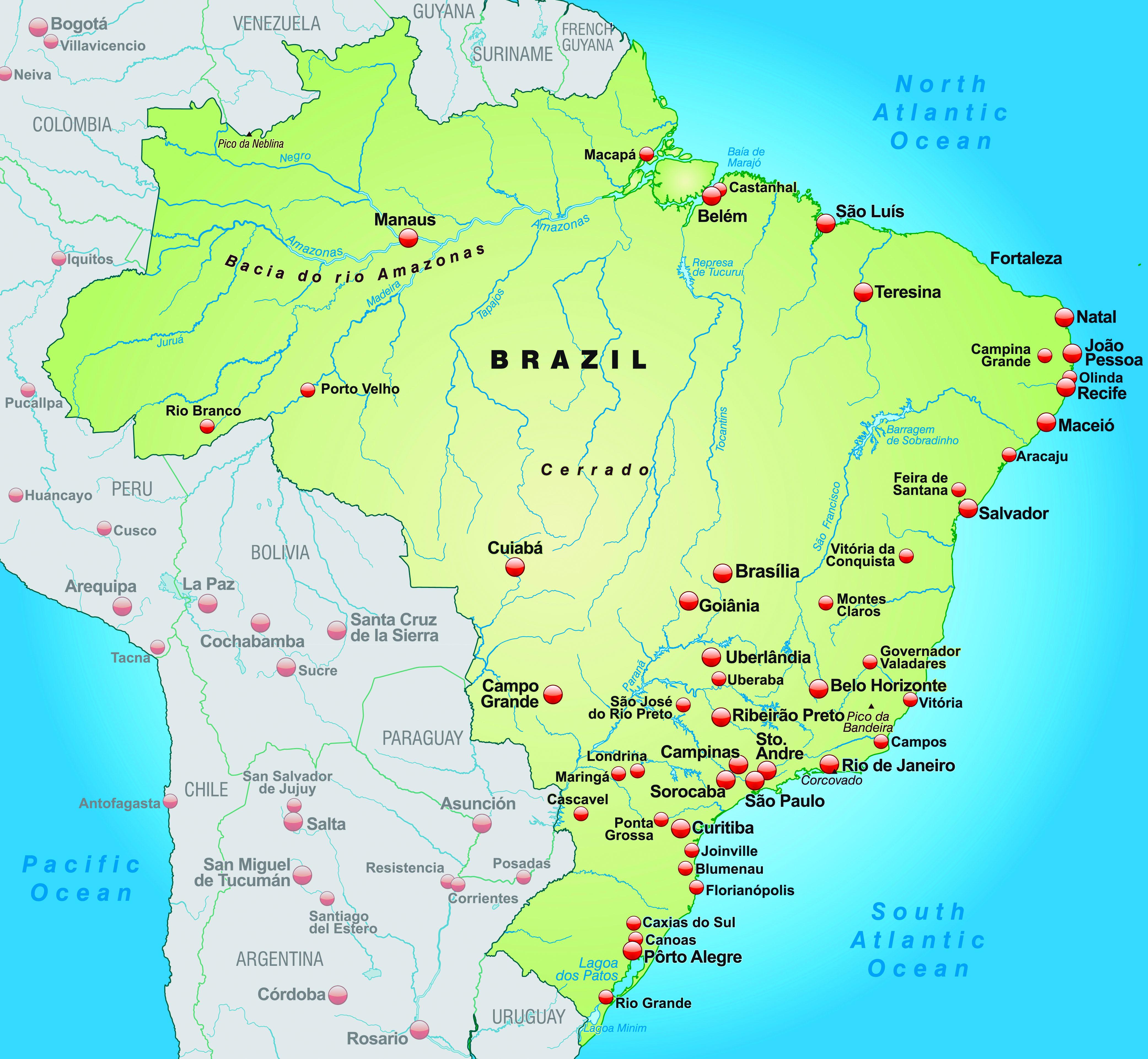 Free Photo Map Of Brazil