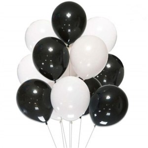 hvite og sorte latex heliumballonger