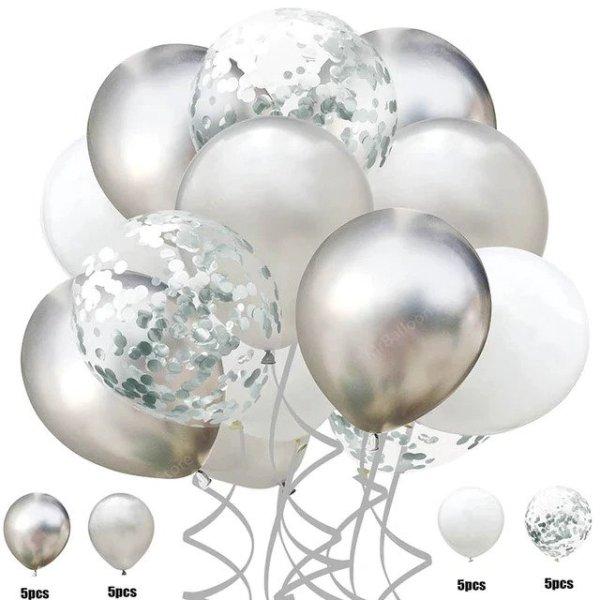 set silver balloon