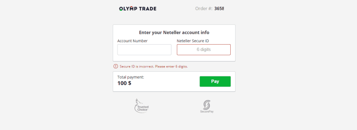 Neteller Olymp Trade deposit