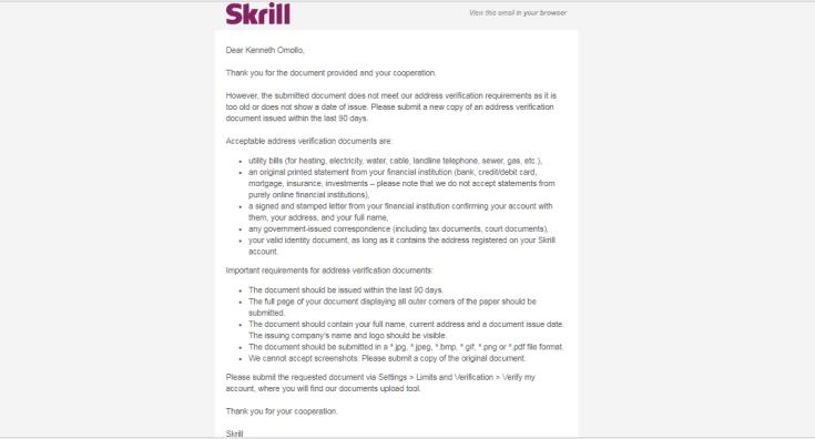 Skrill verification - Verify My Account