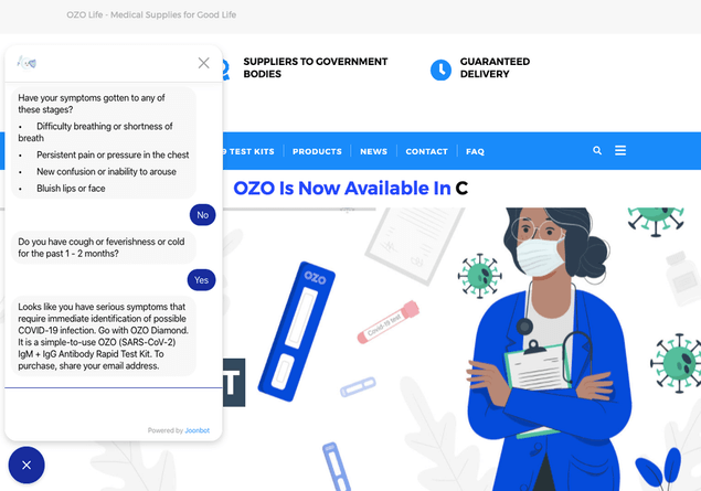 Ozo covid 19 chatbot is evaluating if the user should order a covid 19 test or not