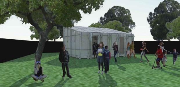 Visualisatie van het volledig demontabele milieuvriendelijke gebouw.