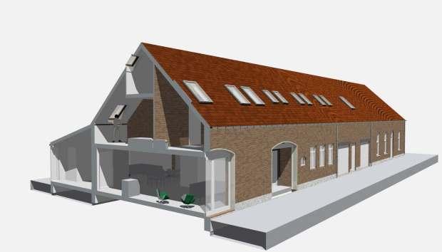 Visualisatie van langgevelboerderij Meterik