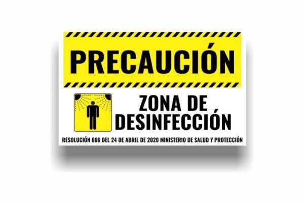Señalizacion de bioseguridad precaucion zona de desinfeccion