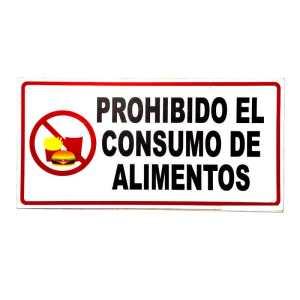 Señalizacion prohibido el consumo de alimentos