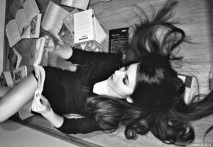 Sexy girl reading book