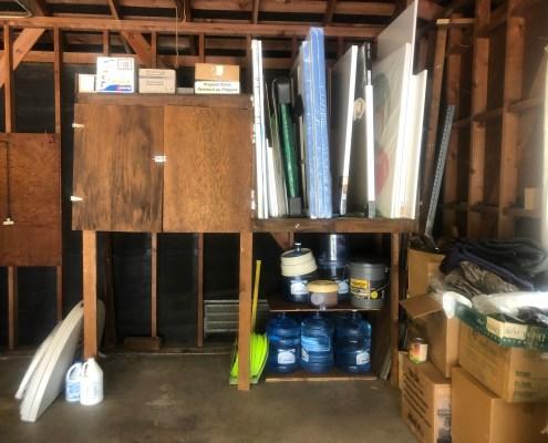 Messy Garage after I organized, organized garage