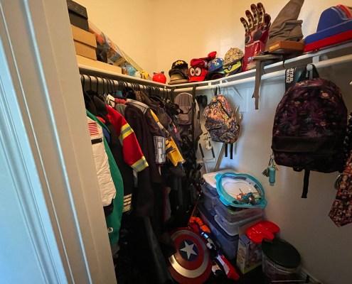 playroom closet, messy closet in playroom, kids closet