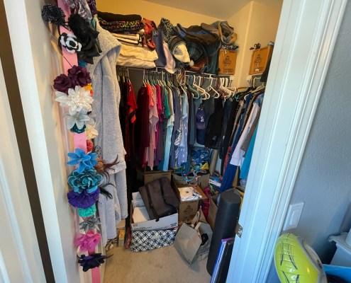 messy closet, bedroom closet, unorganized closet