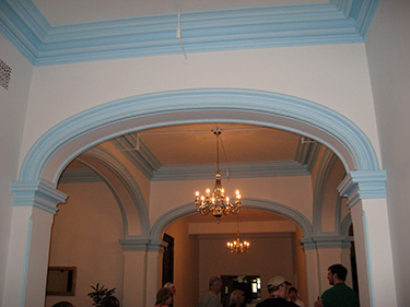 The restored entrance to the doctor's quarters, complete with plaster rococo moulding. All staff lived on premises, from the janitors to the superintendent.