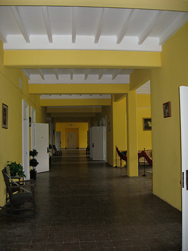 The restored hallway of the first floor ward.