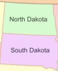 Map of South Dakota and North Dakota