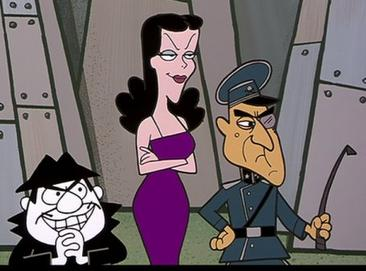 Boris, Natasha, and Fearless Leader from an episode of The Adventures of Rocky and Bullwinkle and Friends