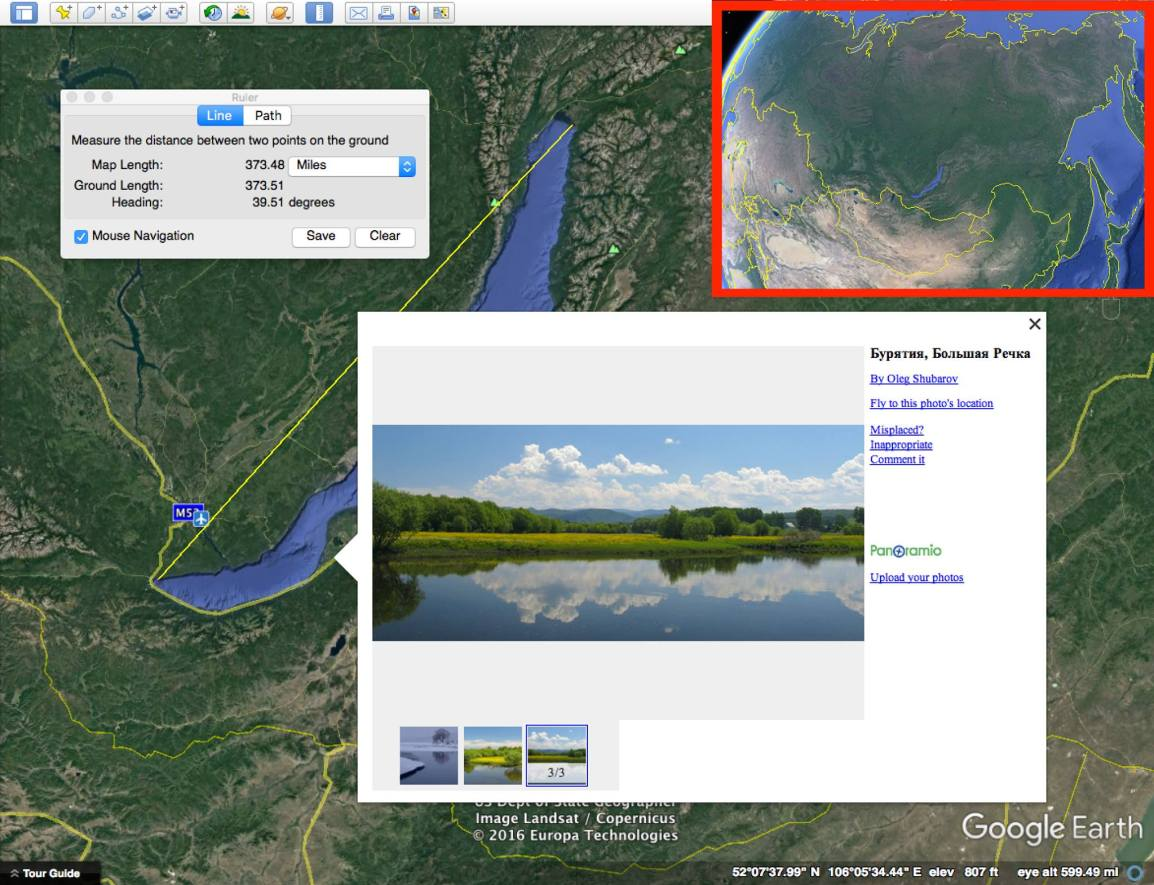 Lake Baikal on Google Earth