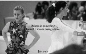 """Kaepernick ad parody: Tonya Harding with the text: """"Believe in something. Even if it means taking a knee."""""""