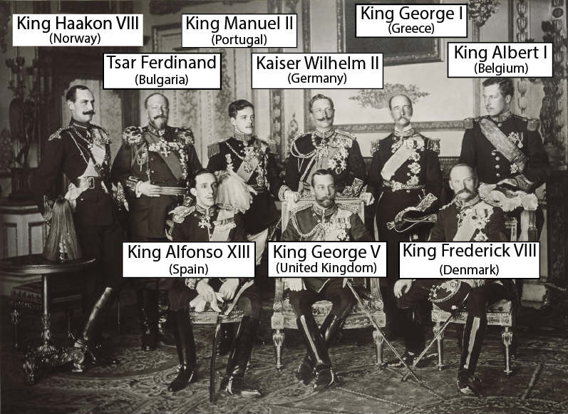 Nine kings in royal regalia - three seated on thrones and six standing behind them (names in caption)