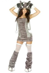 Short, tight gray-and-silver dress with leggings, furry elephant feet, and an a hat with a trunk