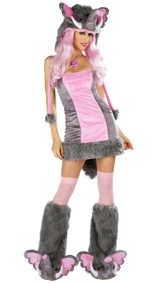 A short pink-and-gray dress with furry boots and an elephant hat, complete with trunk