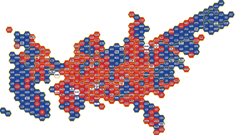 Map of the U.S. House of Representatives with colors representing parties: blue = Democratic (220), red = Republican (212), white = vacant (4)