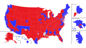 A traditional map of the U.S. House of Representatives with accurately-drawn districts