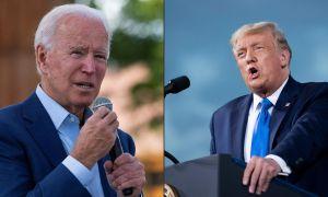 Split-screen image Left: Joe Biden Right: Donald Trump