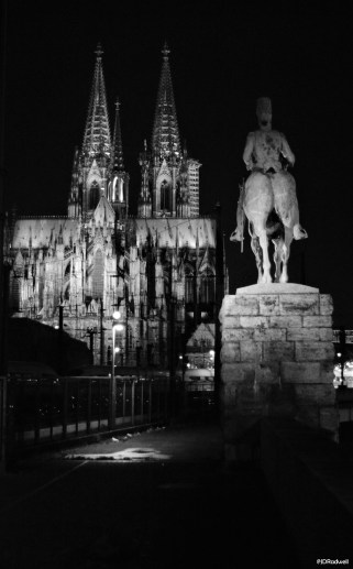 Cologne Cathedral at night in Black and White