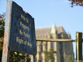 Lancing College Chapel behind a private property sign