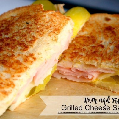 Ham and Pickle Grilled Cheese Sandwich