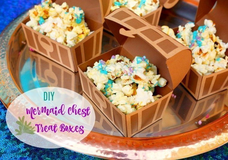 Here's an easy to follow tutorial for making these treasure chest treat boxes - perfect for your Under the Sea/Mermaid party.