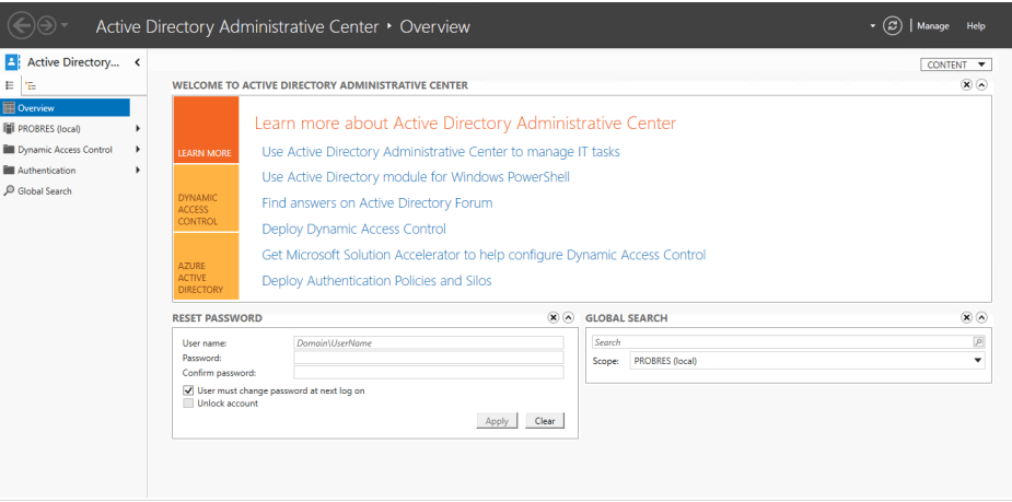 ActiveDirectoryControlCenterOverview