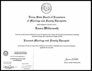 Certification for a counseling liscensure . If you're looking for a highly qualified professional, Laura Jordan, owner of Jordan Therapy Services is the person to go to. During this time, she has shifted to online therapy in texas or online therapy in indiana. She can also do message based therapy. Email today!