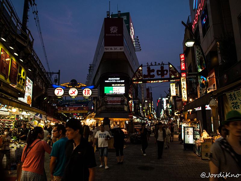 Letreros luminosos en los comercios de Ueno