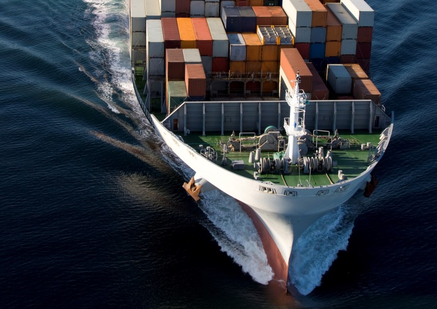 Cargo Container Ship Aerial View