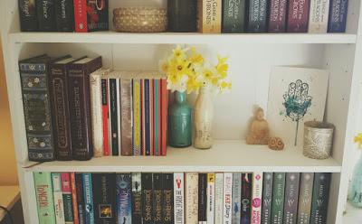 bookshelves with artistic flair