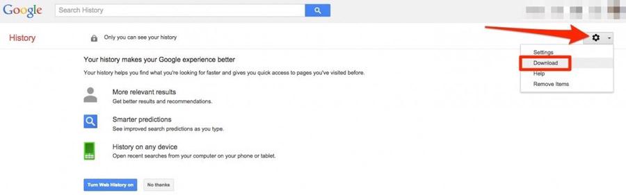 descargar historial de google