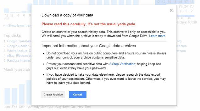 descargar historial de búsqueda de google