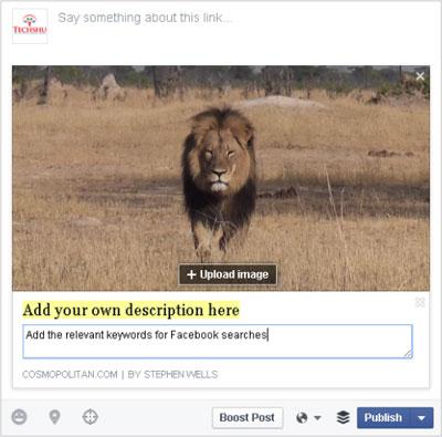 personalizar descripciones en facebook