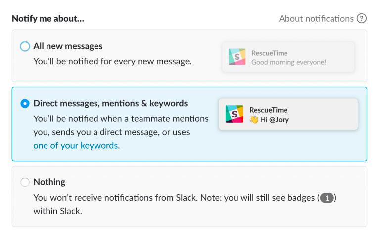 preferencias de notificaciones slack