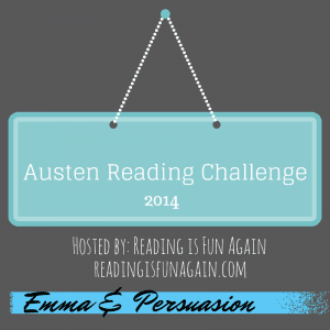 Austen Reading Challenge badge created by Jorie in Canva