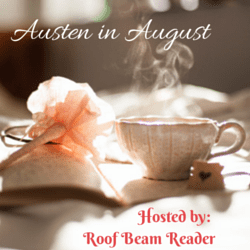 Austen in August badge created by Jorie in Canva. Photo Credit: Carli Jean (Public Domain : Unsplash)