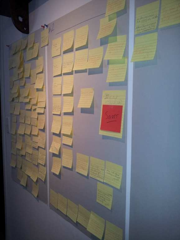 Photo Credit: Wall of Post-its photograph by Julie E. Czerneda. Used with permission of the author.
