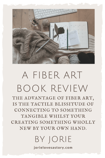 Fiber Art Book Review badge created by Jorie in Canva using Unsplash.com photography (Creative Commons Zero).