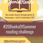 #20BooksOfSummer reading challenge badge created by Jorie in Canva.