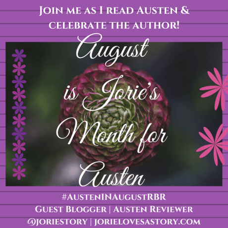 Austen in August participation badge created by Jorie in Canva.