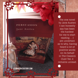 Barnes & Noble Classics (Persuasion) Book Photography Credit: Jorie of jorielovesastory.com. Photo edits and collage created in Canva.