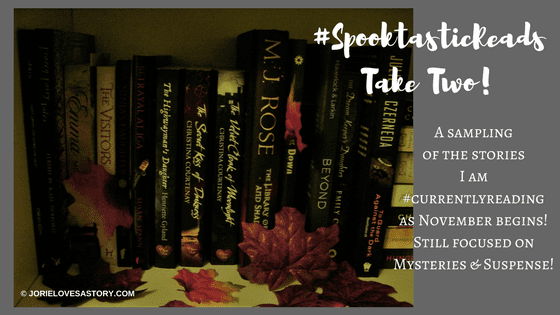 Books currently reading November 2017. Book Photography Credit: Jorie of jorielovesastory.com. Photo edits and collage created in Canva.