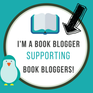 Book Blogger Supporting Book Bloggers badge created by Jorie in Canva.